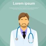 Портрет значка профиля врача мужской плоский Стоковое Изображение RF
