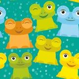 逗人喜爱的在白色背景的动画片滑稽的青蛙集合黄色青绿的桔子 向量 库存图片