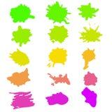 水彩飞溅在传染媒介的集合 图库摄影