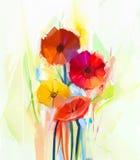 春天花抽象油画  黄色和红色大丁草花静物画  库存照片