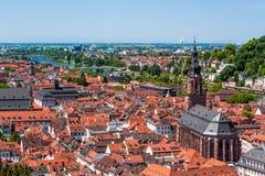 海得尔堡老镇,巴登-符腾堡州,德国屋顶  免版税图库摄影