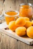 新鲜的杏子和自创杏子酸辣调味品在一个玻璃瓶子 免版税图库摄影