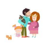 有怀孕的腹部的愉快的父母 免版税图库摄影