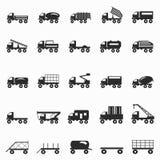 Τα σύμβολα φορτηγών καθορισμένα τη διανυσματική απεικόνιση Στοκ Εικόνες