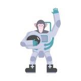 Κυματίζοντας χέρι αστροναυτών πιθήκων Το ζωικό κοστούμι κρατά το κράνος Διάνυσμα ι Στοκ Εικόνες