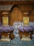 幻想第一个例证钢板蜡纸寺庙变形 库存照片