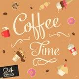 传染媒介咖啡时间标志 库存图片