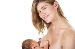 哺乳的女儿母亲 免版税库存照片