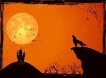 Замок и волк на ноче хеллоуина Стоковые Фотографии RF
