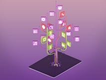 Социальные значки средств массовой информации установили в форму дерева на современном черном ПК таблетки Стоковое Изображение