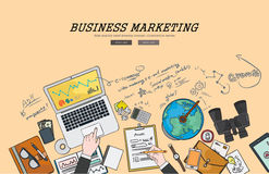 Σχεδιασμός της επίπεδης έννοιας επιχειρησιακού συνολικής μάρκετινγκ απεικόνισης σχεδίου Έννοιες για τα εμβλήματα Ιστού και τα δια Στοκ φωτογραφίες με δικαίωμα ελεύθερης χρήσης