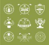 高尔夫球棒商标、标签和象征 库存图片