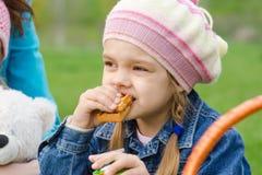 Девушка есть торт на пикнике Стоковые Фотографии RF