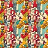 小组街道音乐家无缝的颜色样式 免版税库存照片