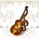 有高音谱号的爵士乐在难看的东西背景的吉他和阴影 免版税库存图片
