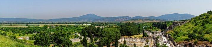 土耳其风景的全景在以弗所附近的 免版税库存图片