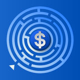 Σημάδι δολαρίων στο λαβύρινθο κύκλων Στοκ εικόνες με δικαίωμα ελεύθερης χρήσης