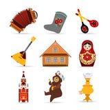 套俄罗斯旅行五颜六色的平的象 免版税库存图片