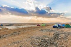 阵营在沙漠在埃及 免版税库存图片