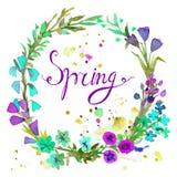 水彩花圈 与文本春天的花卉框架设计 免版税库存照片