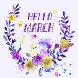 水彩花圈 与文本你好春天的花卉框架设计 库存图片