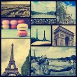 Коллаж различных ориентир ориентиров в Париже, Франции, пересекает обработанный Стоковая Фотография