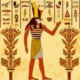 与埃及神的葡萄酒海报与古老埃及象形文字和花卉元素的难看的东西背景的 库存图片