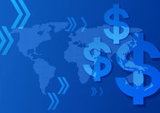在世界地图蓝色背景的美元的符号 库存图片