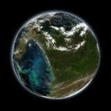 与大气、显示的云彩和的大陆的虚构的行星地球-美国航空航天局装备的这个图象的元素 免版税图库摄影