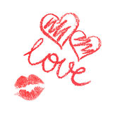 Комплект вектора сердец и поцелуя нарисованных губной помадой Стоковое Изображение