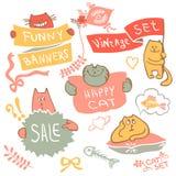 Σύνολο γάτας σχεδίων χεριών με το διάνυσμα λογότυπων εμβλημάτων Στοκ Φωτογραφίες