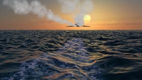 秘密行动轰炸机喷气机飞过在日落 免版税库存照片