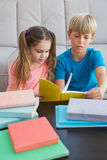 在地板上的愉快的兄弟姐妹阅读书 库存图片