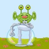 Смешной чужеземец с цветком Стоковая Фотография