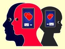与手机的爱消息 库存图片