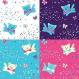 四无缝的模式 猫、花和蝴蝶 免版税图库摄影