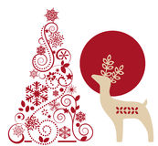 鹿和图表圣诞树 库存照片