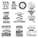Комплект цитат винтажной еды типографских Стоковое Фото