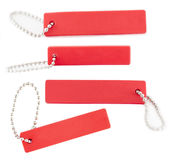 Изолированная красная этикетка с цепью Стоковое Изображение RF