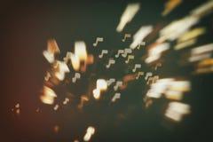 Υπόβαθρο μουσικής, ήχου και αφηρημένο θαμπάδων σημειώσεων Στοκ Φωτογραφία
