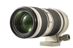 徒升摄象机镜头,隔绝在白色背景 库存图片