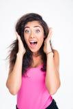 尖叫惊奇的女性的少年 免版税库存图片