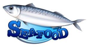 金枪鱼和海鲜标志 库存图片