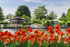 荷兰河边村庄 免版税库存图片