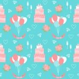 与蛋糕和软的动画片浪漫装饰元素的婚姻的无缝的样式背景 免版税库存图片
