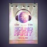Партия звука плаката диско Стоковые Изображения