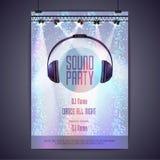 Партия звука плаката диско Стоковые Фотографии RF