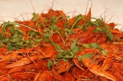 煮沸的小龙虾红色 免版税图库摄影