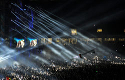 Толпа партии на концерте Стоковое Изображение RF