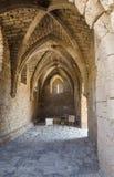 古老砖天花板在公园成拱形凯瑟里雅,以色列,夏天的拜占庭式的博物馆 免版税库存图片